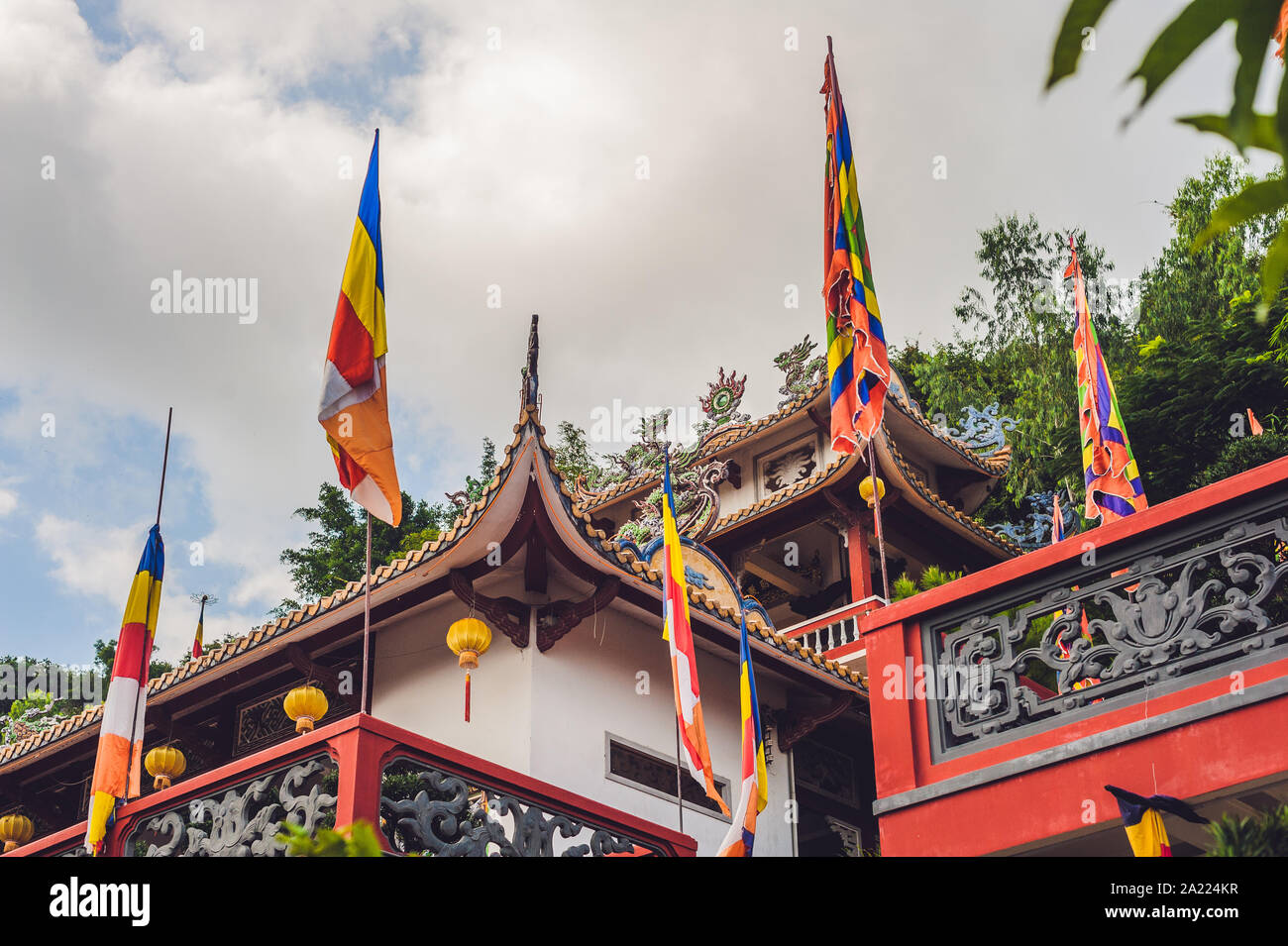 Buddhist temple in Vietnam Nha Trang, Asian architecture concept Stock Photo