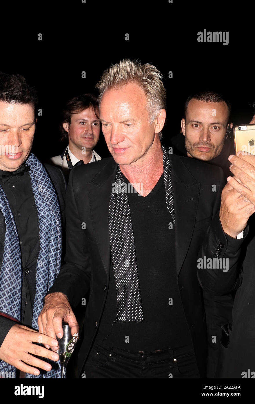 Sting arrives at a night party during the 71st Cannes Film Festival 2018. Stock Photo