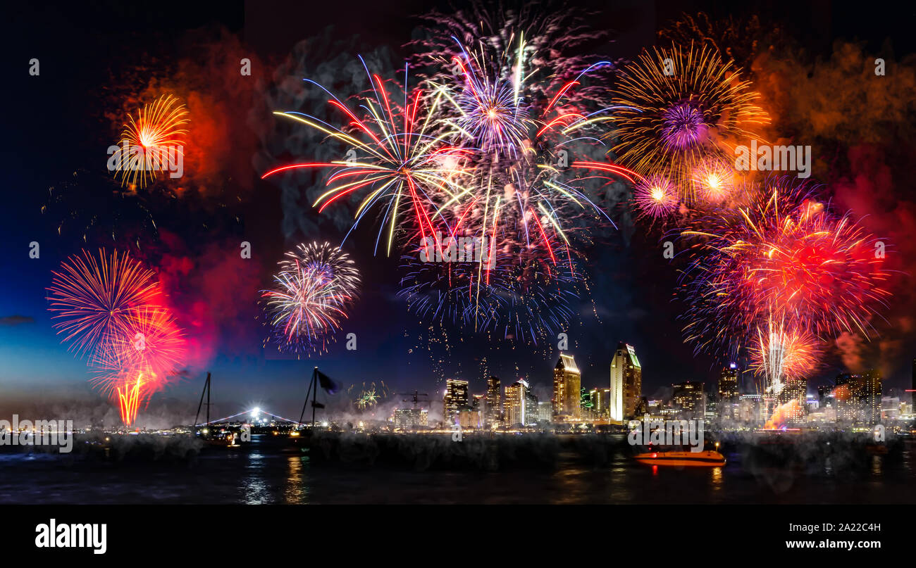 Independence Day Celebration Fireworks show in San Diego Stock Photo
