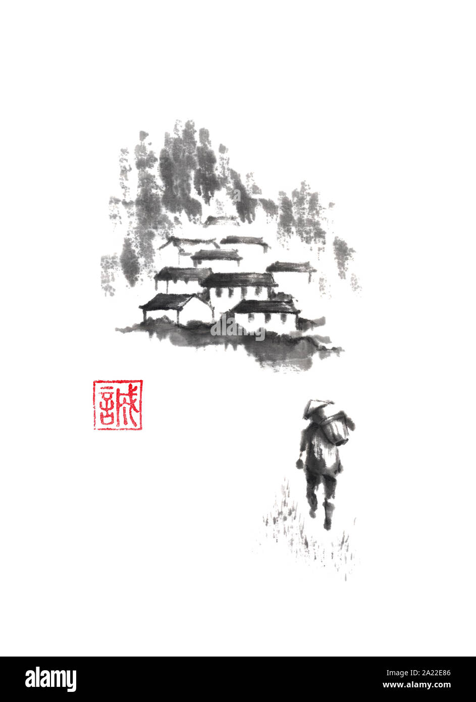 Man and mountain village Japanese style original sumi-e ink painting. Hieroglyph featured means sincerity. Great for greeting cards or texture design. Stock Photo