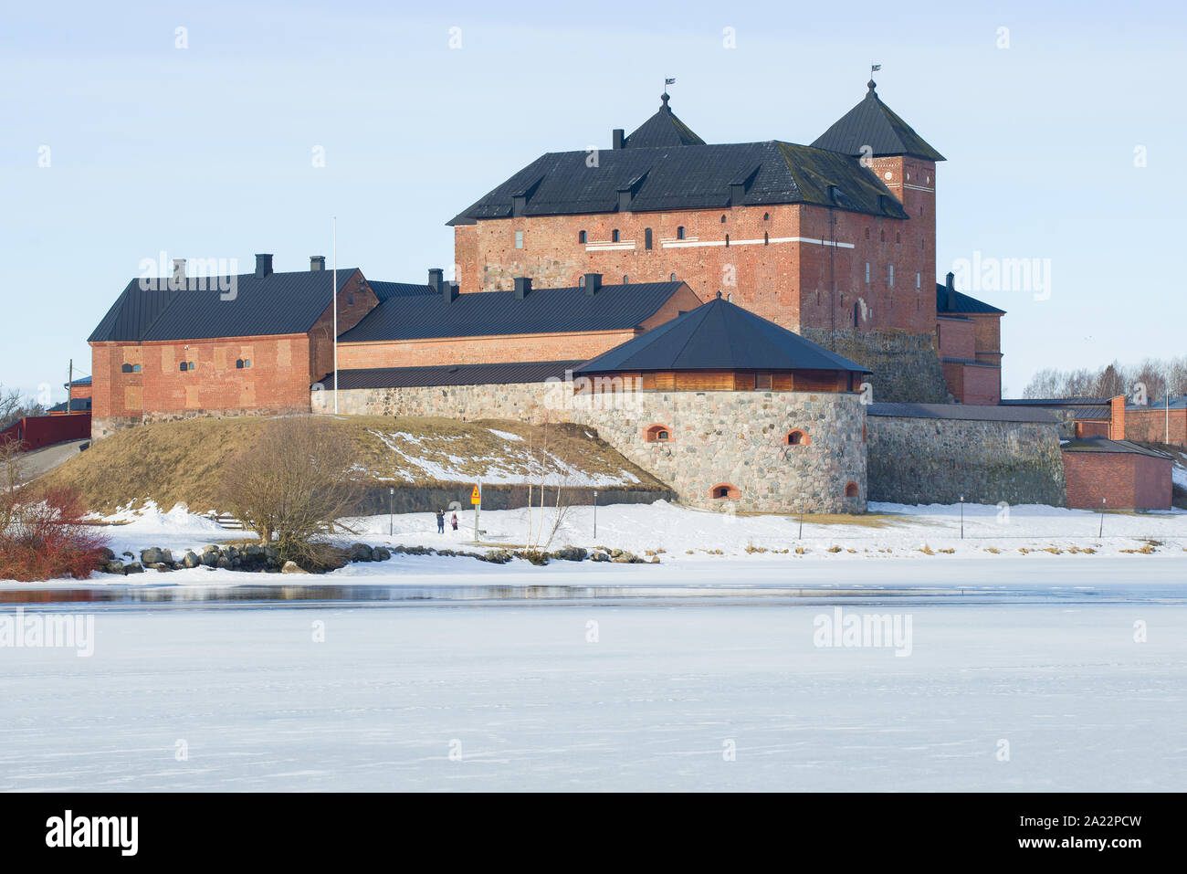 The ancient fortress of the city of Hameenlinna on March day. Finland Stock Photo