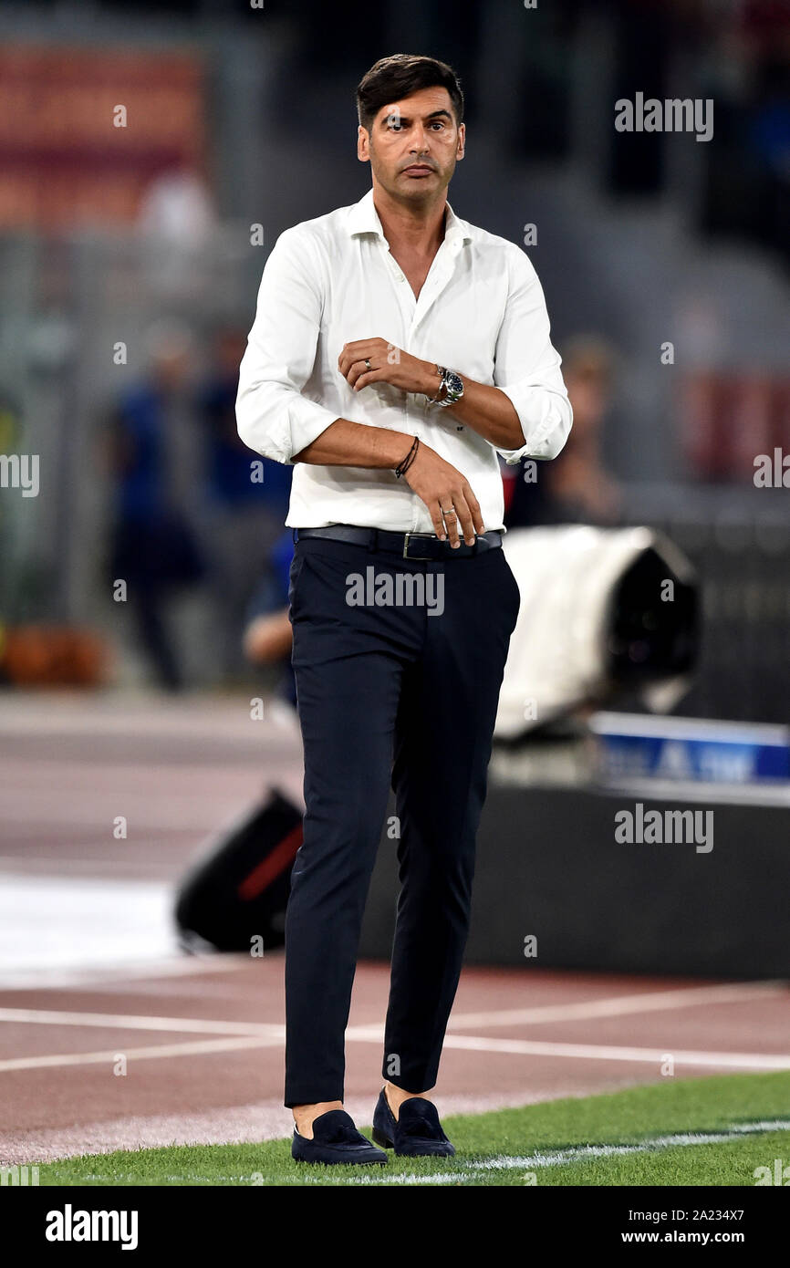 Paulo Fonseca coach of AS Roma Roma 25-8-2019 Stadio Olimpico Football  Serie A 2019/2020 AS Roma - Genoa CFC Photo Andrea Staccioli / Insidefoto  Stock Photo - Alamy