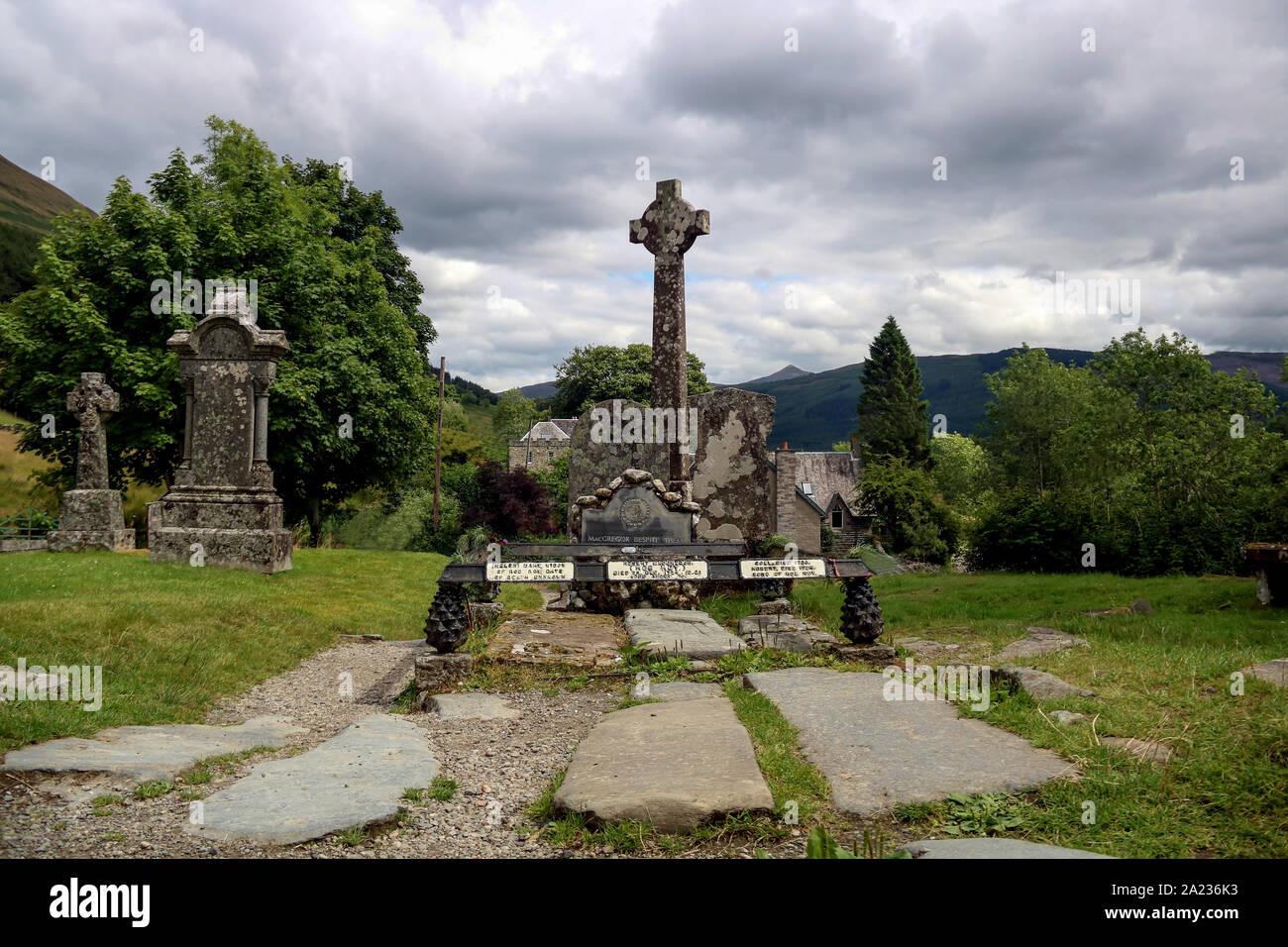 Grave of Scottish patriot Rob Roy MacGregor in Balquhidder Scotland Stock Photo