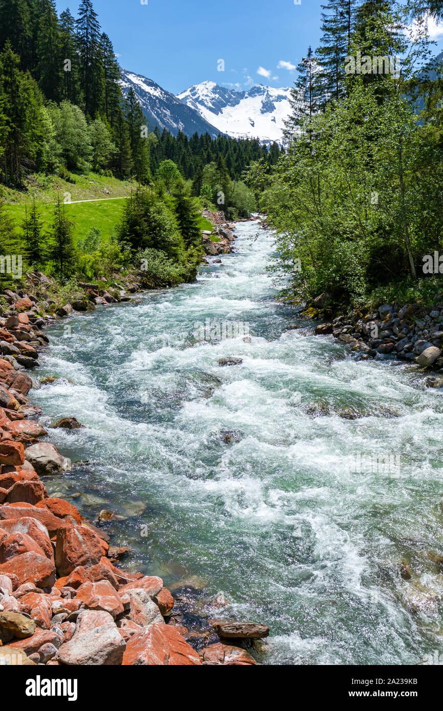 Mountain stream - Austrian Alps Stock Photo