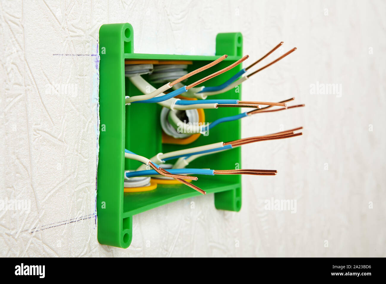 Wall Mounted Installation Of A Rectangular Plastic Electrical Junction Box For Household Wiring Insulation Was Removed From The Ends Of The Copper Wi Stock Photo Alamy