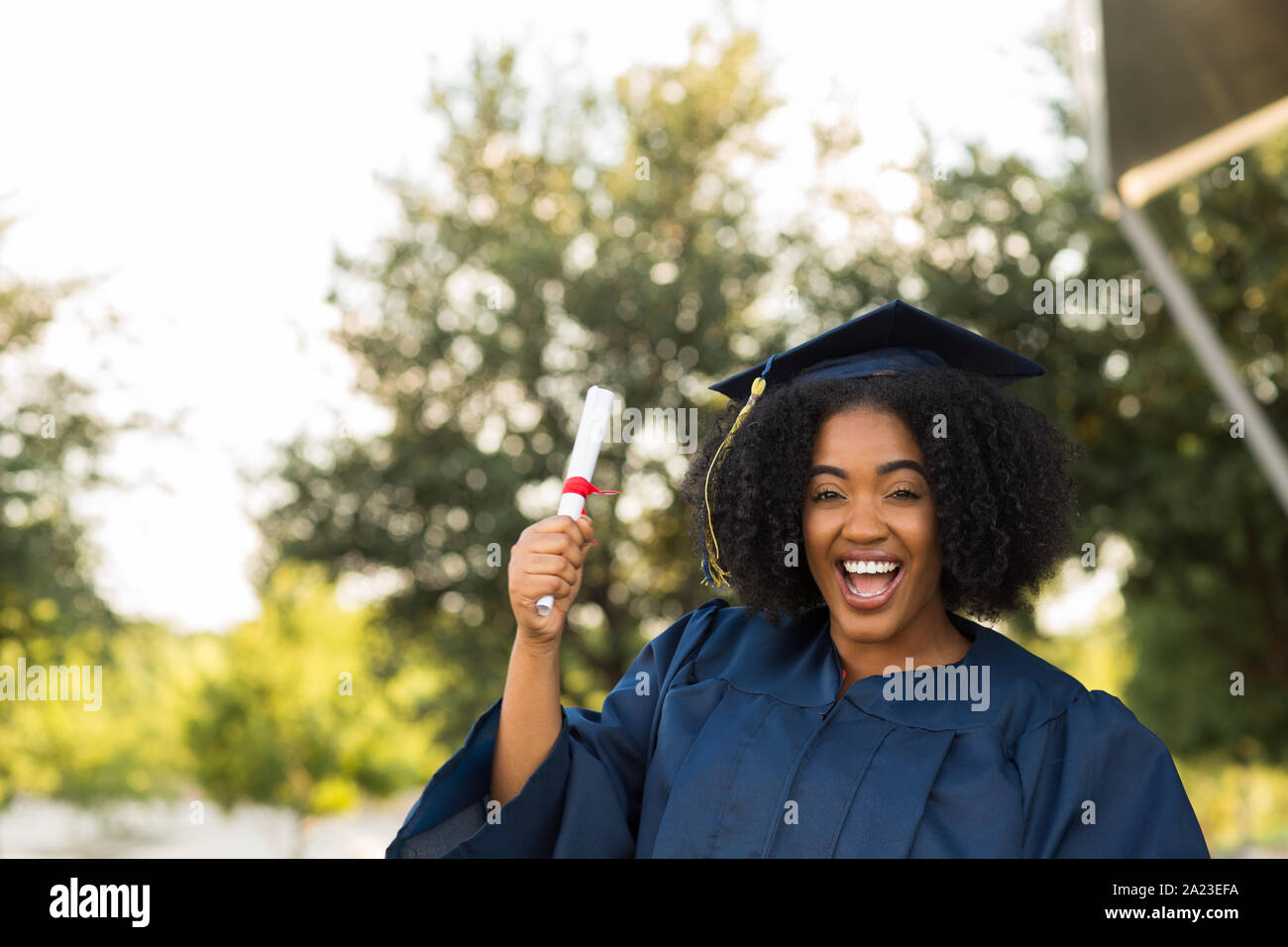 Confident African American woman at her graduation. Stock Photo