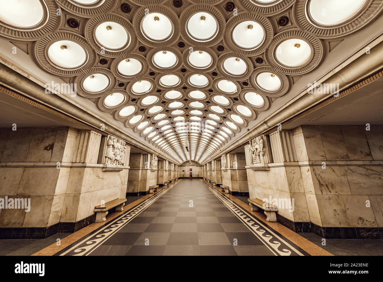 Moscow, Russia, September 28, 2019: Interior of Elektrozavodskaya metro station. Built as part of the third stage of the Moscow Metro and opened on 15 Stock Photo