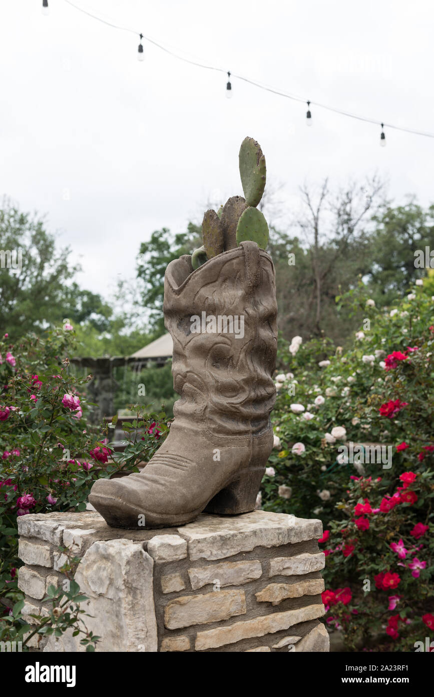Ornamental Cowboy Boot Outside The Original Salt Lick Bbq A