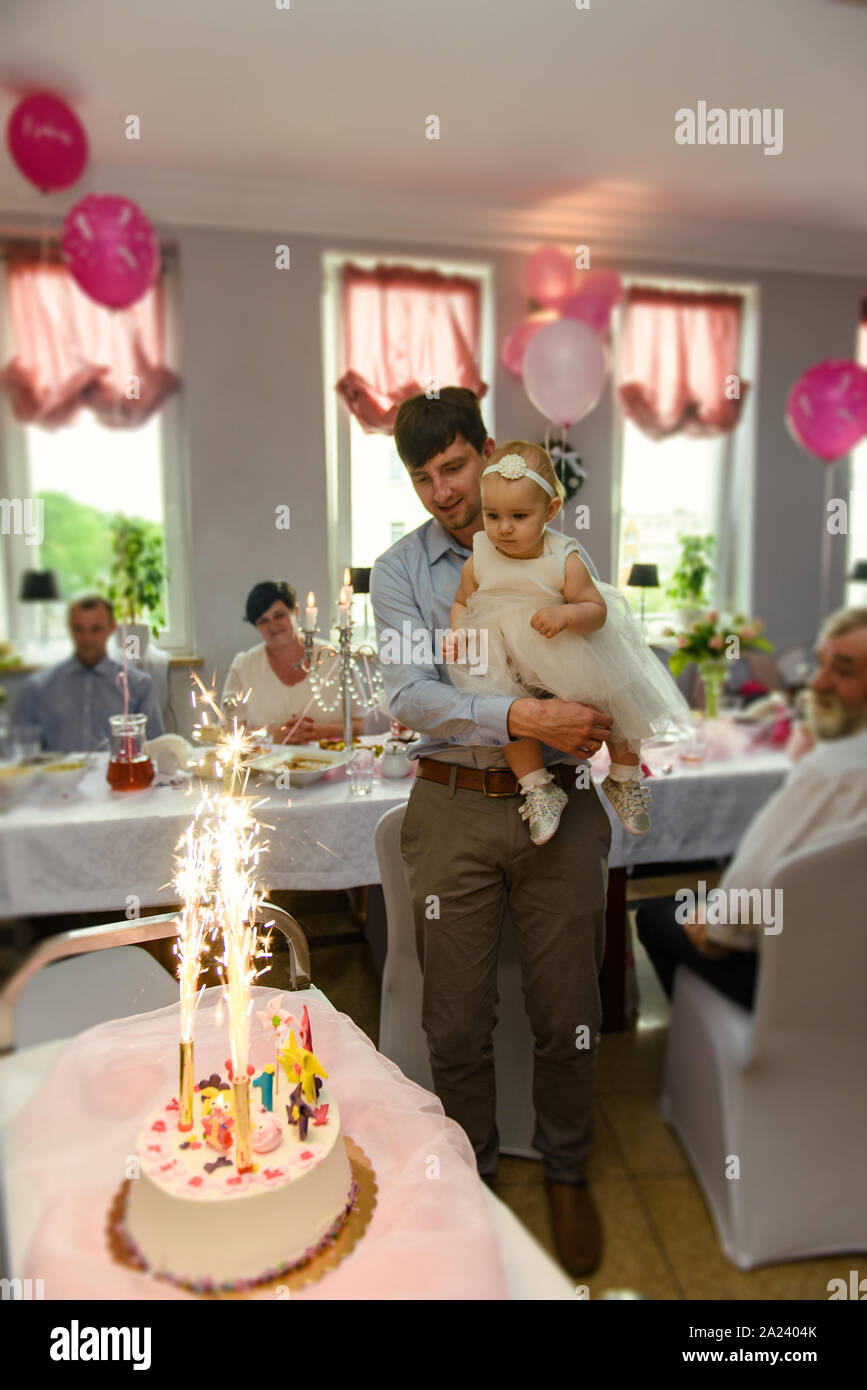 Admirable Baby Girl 1 Year Old Eating Birthday Cake In Room Birthday Party Funny Birthday Cards Online Alyptdamsfinfo