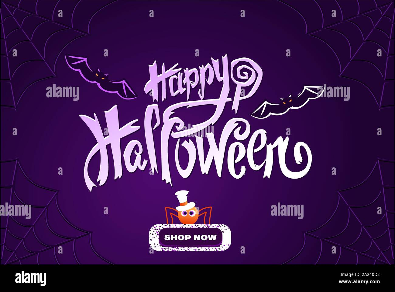 Happy Halloween Lettering Purple Banner With Cute Spider Stock Vector Image Art Alamy