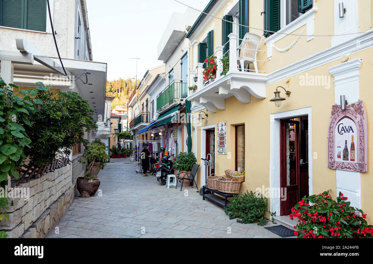 Local Streets In Gaios Paxos Greek Islands Greece Stock Photo ...