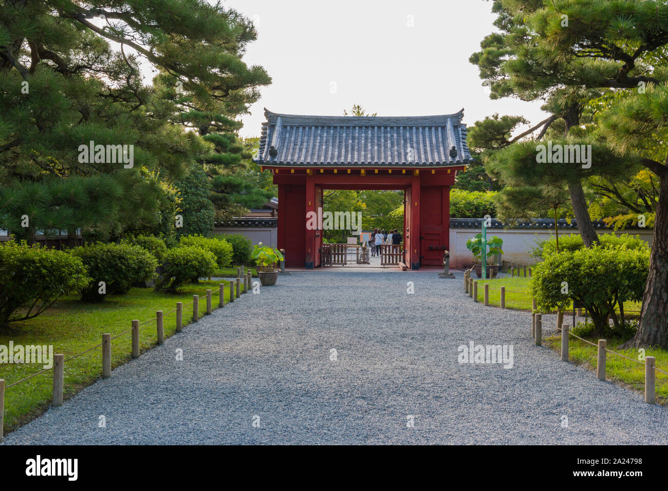 Front gate before getting into Byodo-in temtple in Kyoto city, Japan Stock Photo