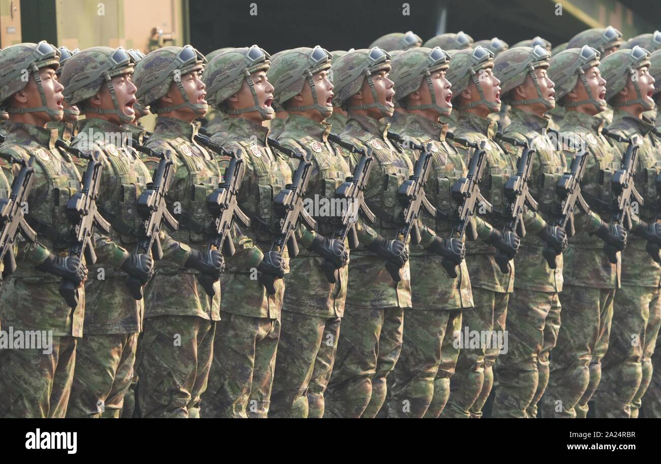 Beijing, China. 1st Oct, 2019. Military personnel of an amphibious assault vehicle formation take part in a grand military parade celebrating the 70th anniversary of the founding of the People's Republic of China in Beijing, capital of China, Oct. 1, 2019. Credit: Li Gang/Xinhua/Alamy Live News Stock Photo