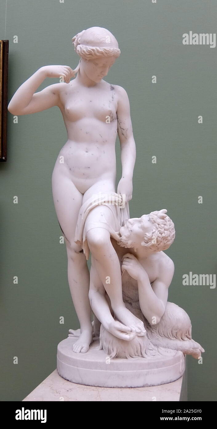 Marble sculpture titled 'Satyr and Nymph' by Petr Andreevich Stavasser (1816-1850) Stock Photo