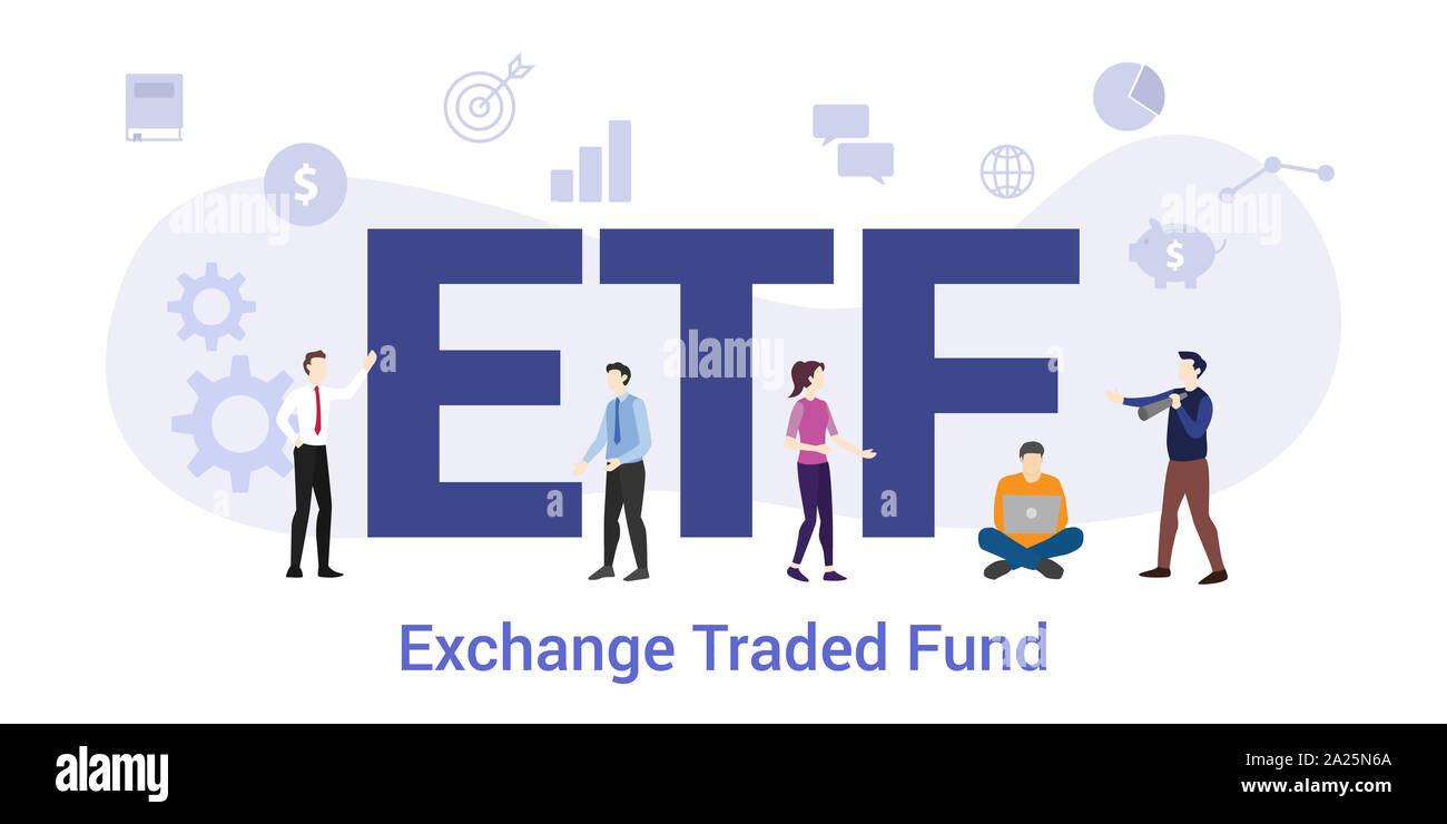 etf ecchange traded fund concept with big word or text and team people with modern flat style - vector illustration Stock Photo