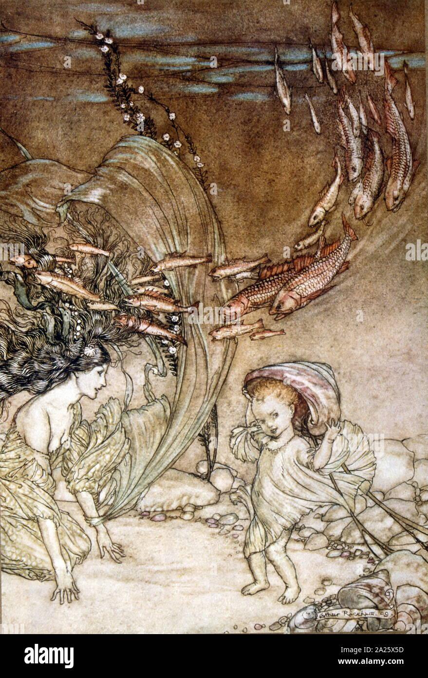 Illustration by Arthur Rackham 1910 depicting, Ondine (Undine), a fairy-tale novella by Friedrich de la Motte Fouque; in which Undine, a water spirit, marries a knight named Huldebrand in order to gain a soul. It is an early German romance Stock Photo