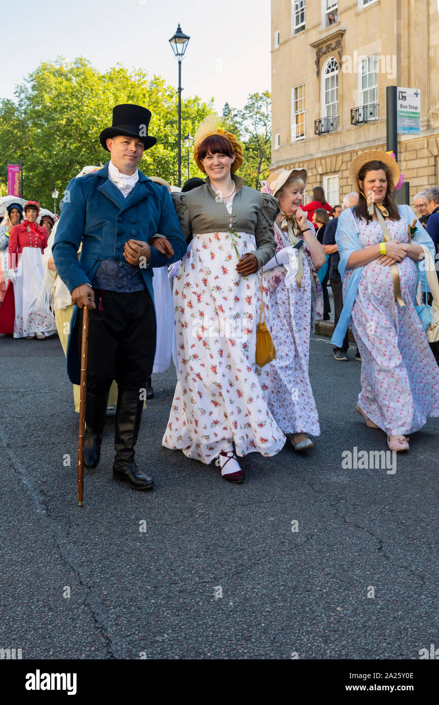 Jane Austen Festival 2019. The Grand Regency Promenade where 500+ people from around the world join the official opening procession of the festival. Stock Photo