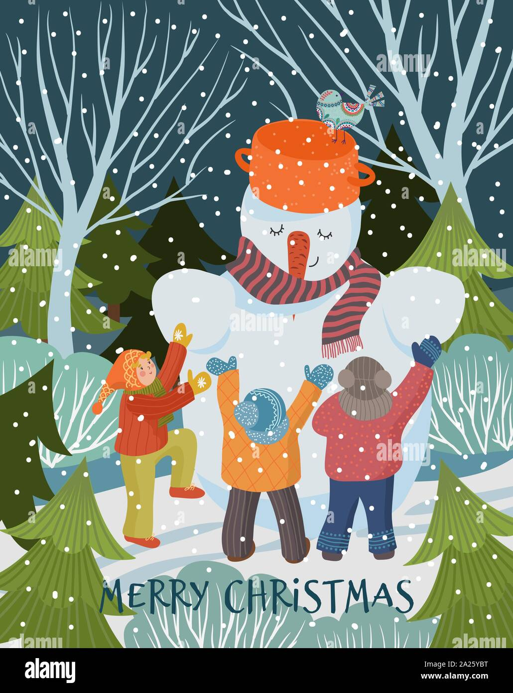 Merry Christmas And Happy New Year Vector Winter