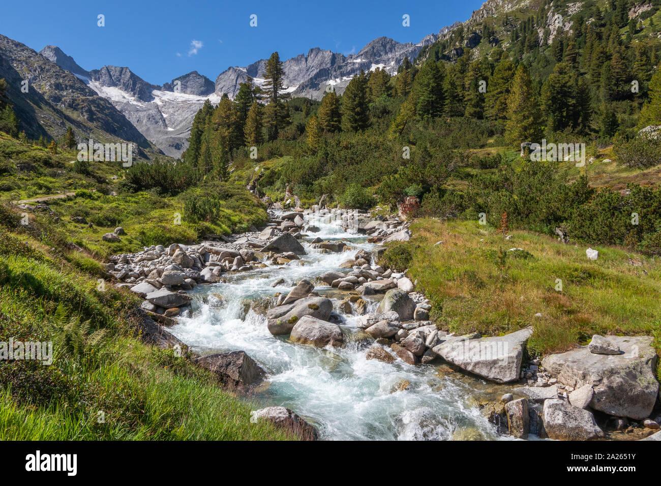 Rainbachtal valley alpine landscape, a side valley of the Krimmler Achental. Hohe Tauern National Park. Austrian Alps. Stock Photo