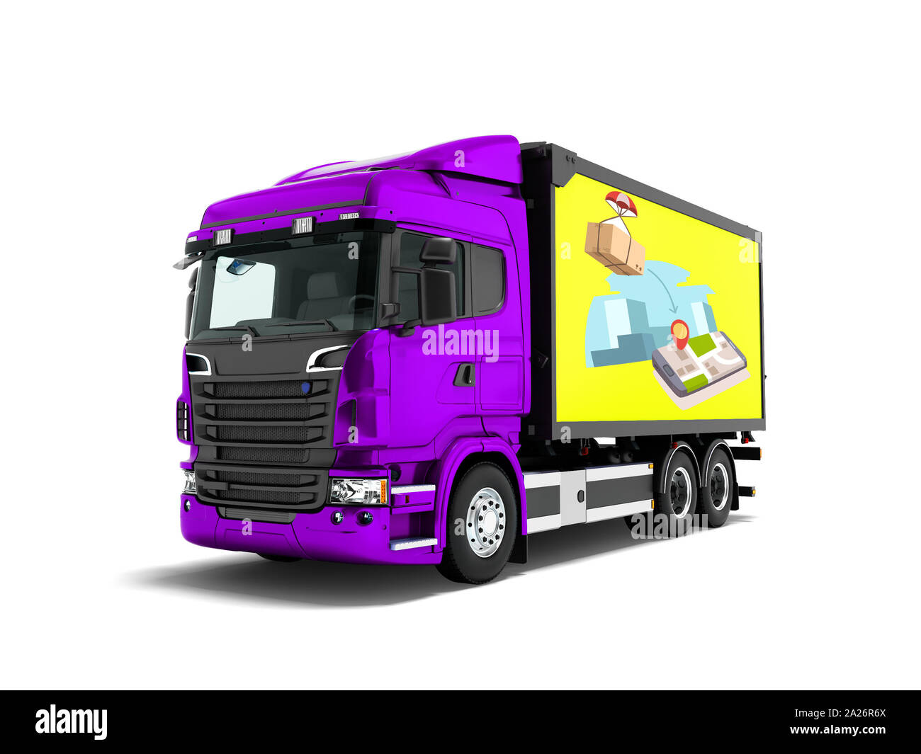 Modern purple truck with yellow trailer for mail transport 3d render on white background with shadow Stock Photo