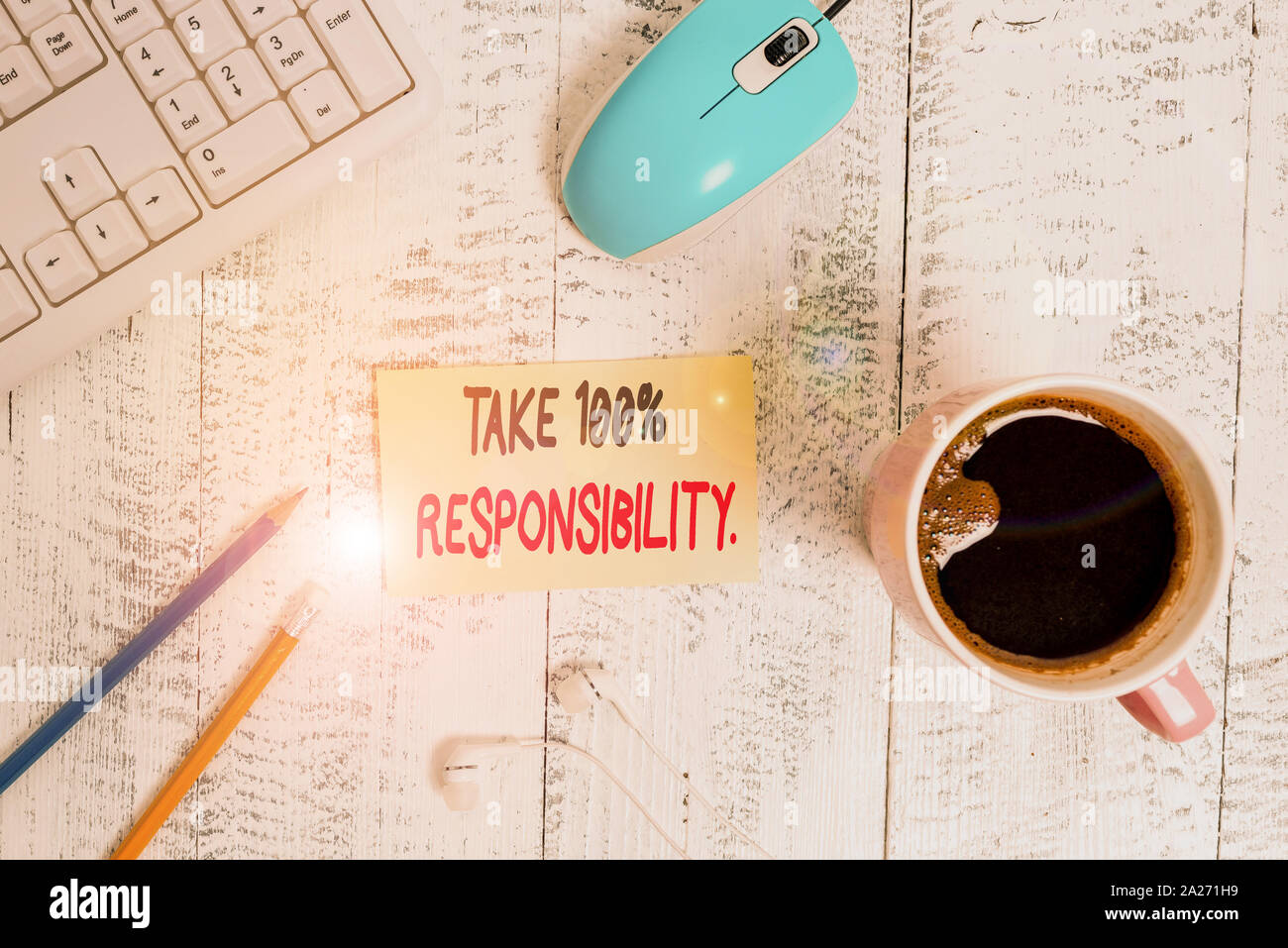 Conceptual hand writing showing Take 100 Percent Responsibility. Concept meaning be fully accountable for your Actions and Thoughts Technological devi Stock Photo