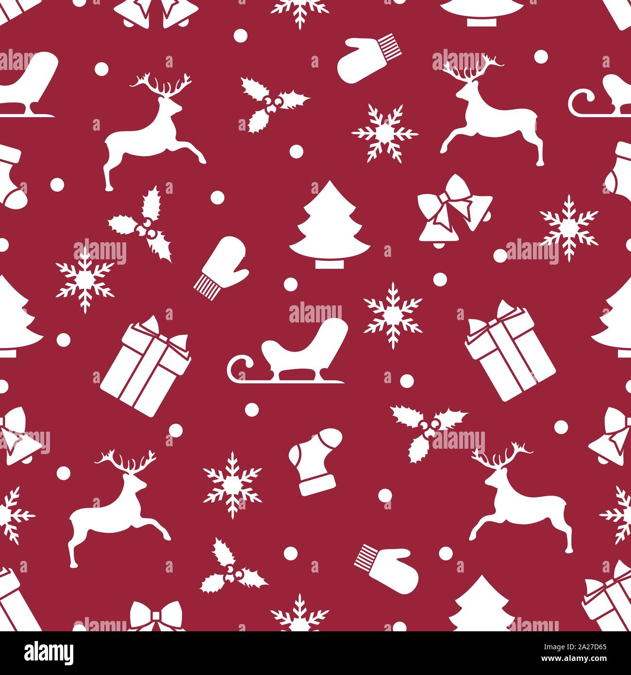 2020 Christmas Pattern With Santa Claus Merry Christmas Happy New Year 2020. Vector seamless pattern with