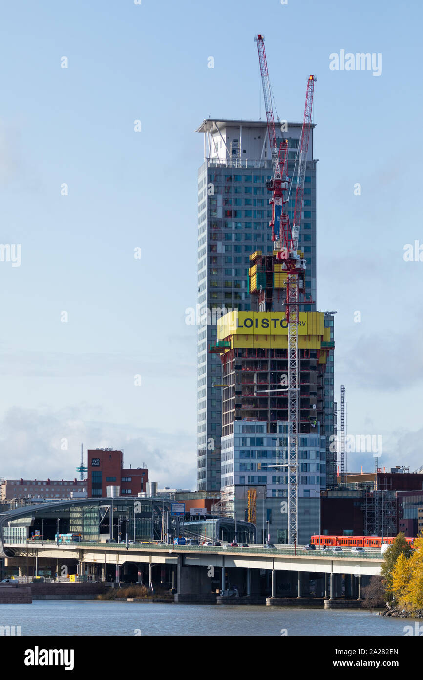 High-rise buildings under construction at the new Kalasatama business and residential area of Helsinki, Finland. Stock Photo