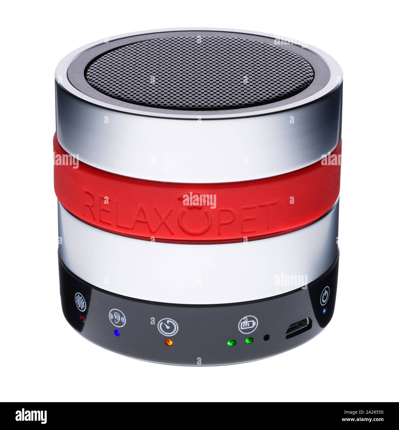 A small electronic device to relax ones pet. High frequency sound waves calm dogs and cats and horses. Animals react to the sounds and calm them down. Stock Photo