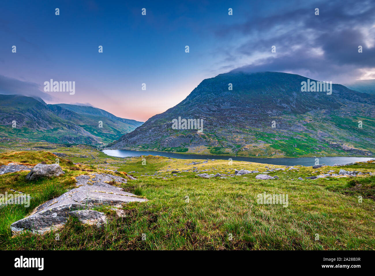 Snowdonia National Park In North Wales with the mountains in the background make a stunning landscape Stock Photo