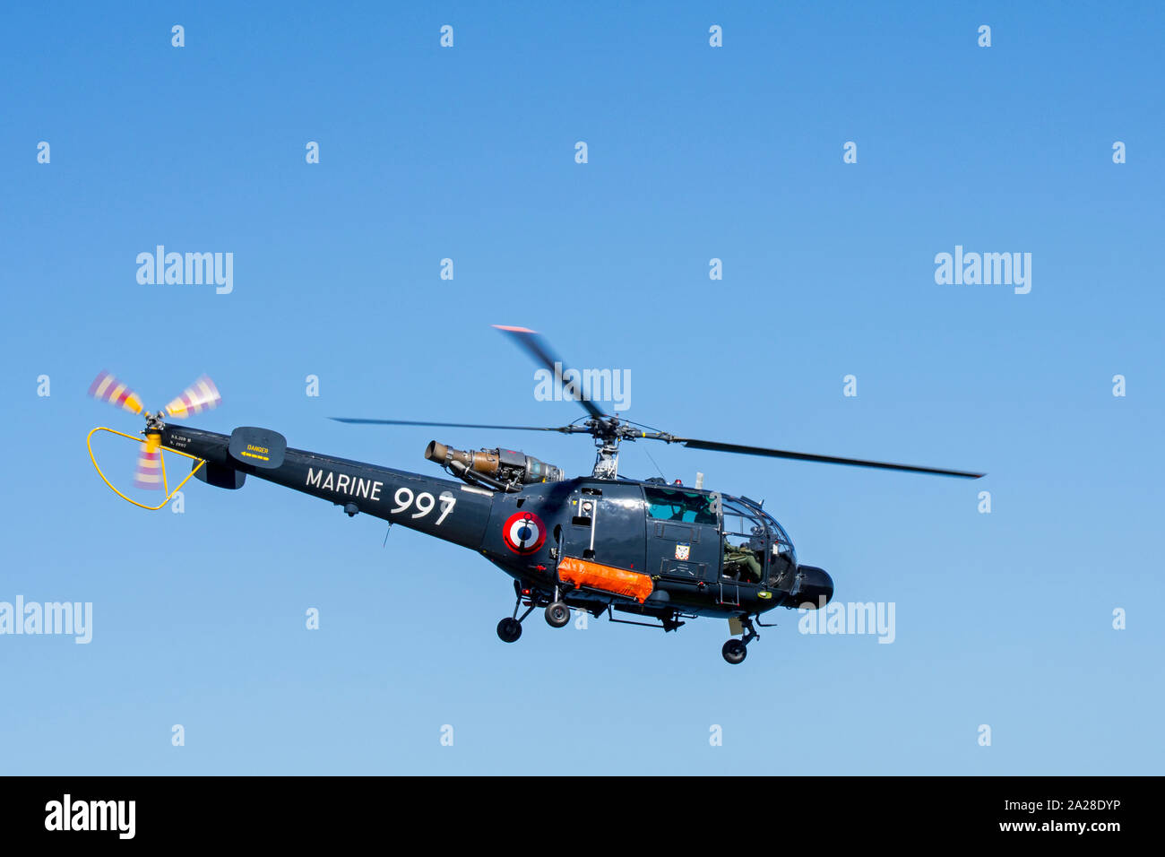 French Navy Alouette III, single-engine light utility helicopter in flight Stock Photo