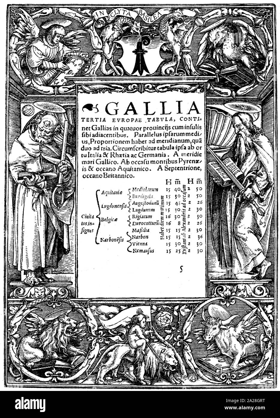Title book border by Hans Holbein in woodcut, printed from Adam Petris, Offizin from Basel (1524). Religion, Evangelists, Paul, Markus, Luke, John. Stock Photo
