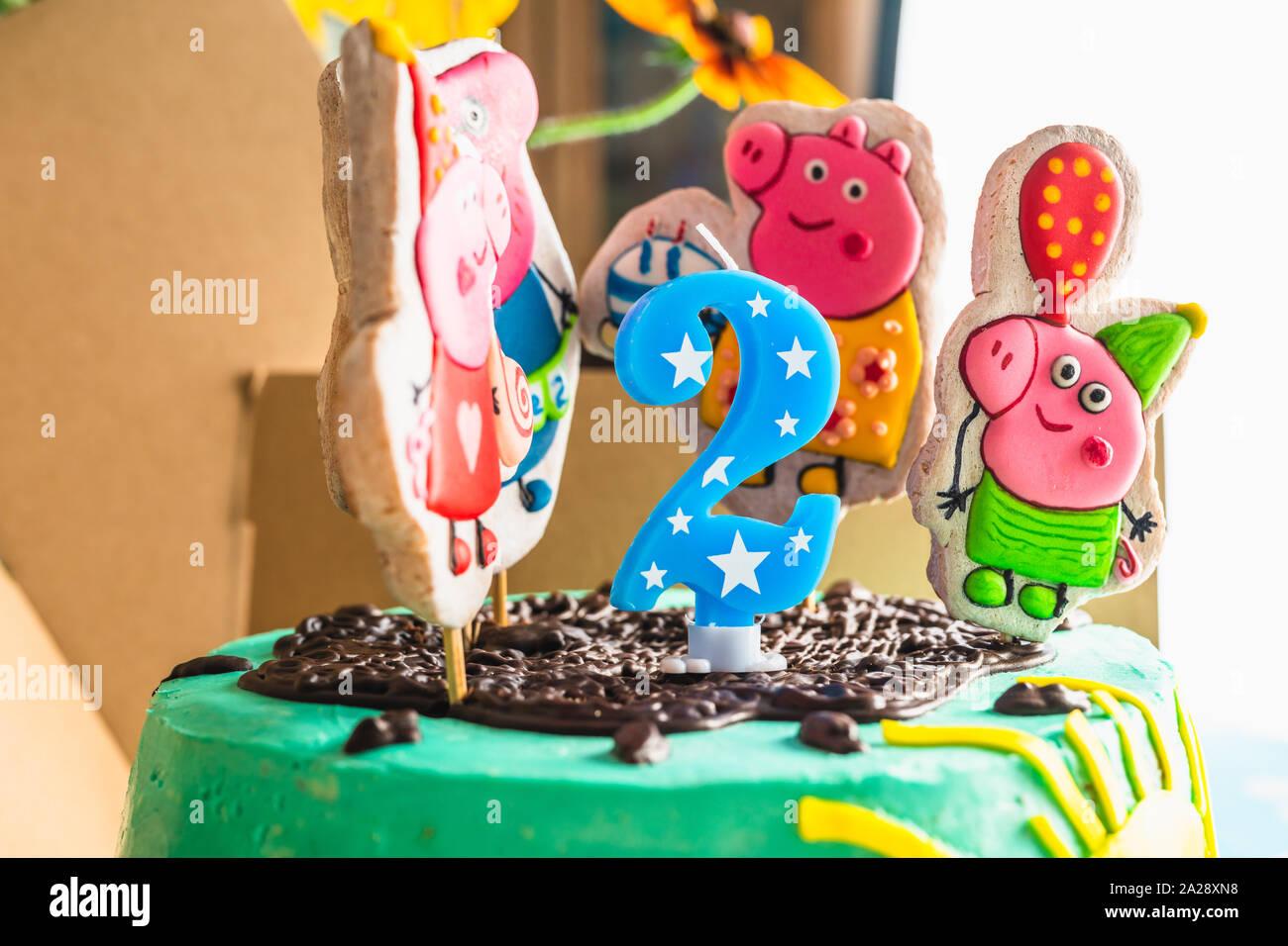 Strange Peppa Pig Birthday Cake Happy 2 Years Birthday Cake Close Up Funny Birthday Cards Online Necthendildamsfinfo