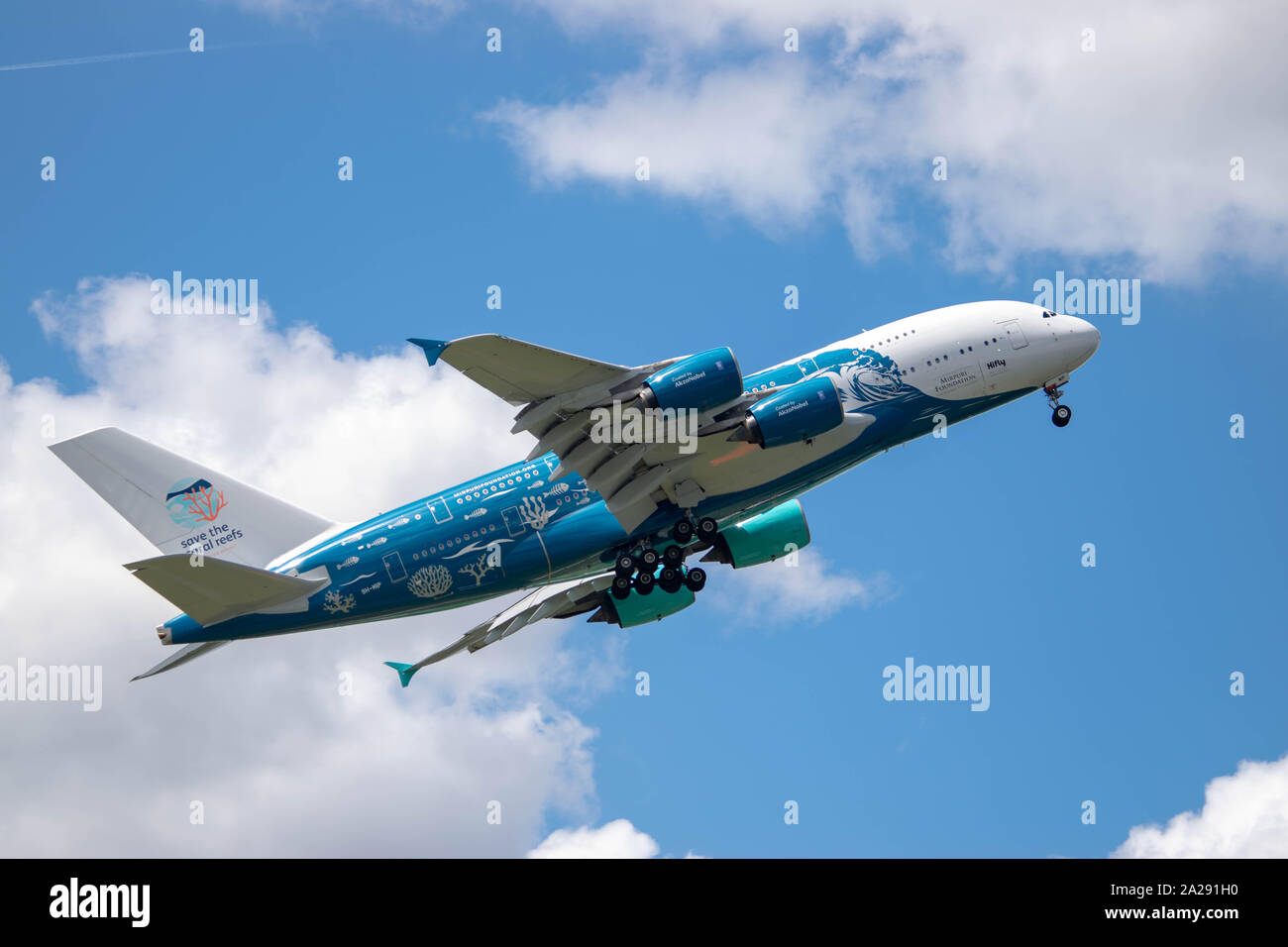 Airbus A380  en présentation au salon du bourget, Not to late to save the corail reef. Stock Photo