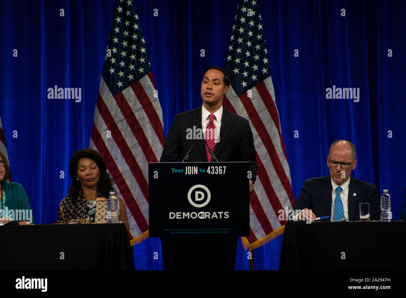 Former U.S. Secretary of Housing and Urban Development Julian Castro speaks at the DNC summer meetings in San Francisco on Aug. 23, 2019. Stock Photo