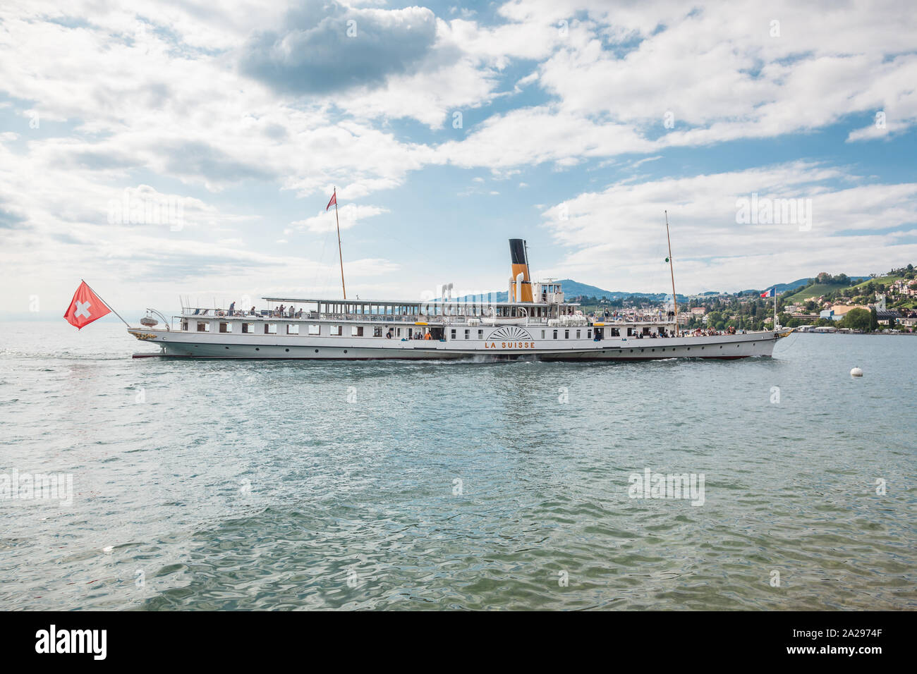 The most beautiful flagship Belle Epoque steam boat called La Suisse approaching Montreux pier on Swiss Riviera, Vaud, Switzerland Stock Photo