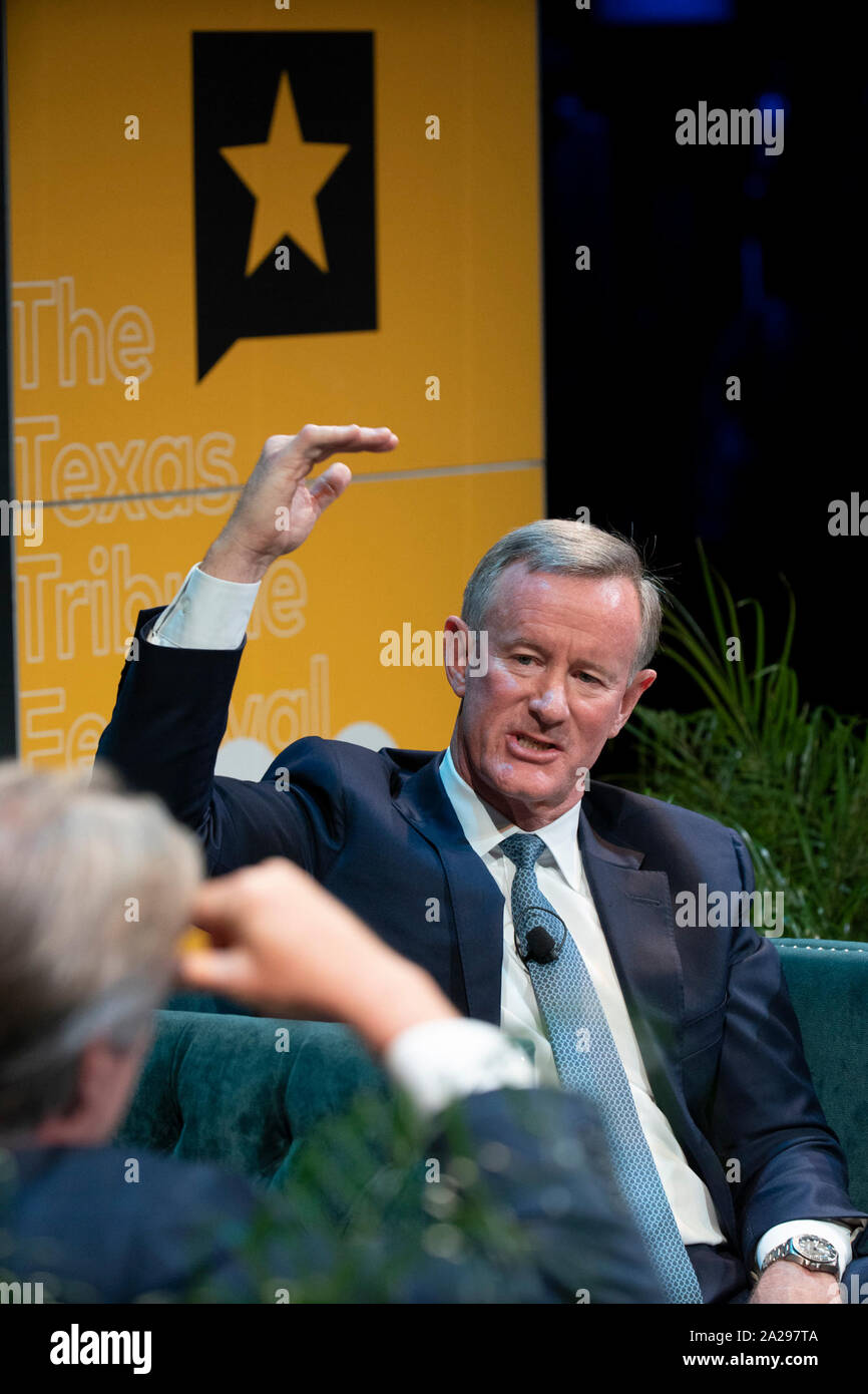 Retired Navy Admiral and former SEAL William McRaven talks about overseeing the raid that killed Osama bin Laden in 2011 as he appears on a podcast with Major Garrett of CBS during a Texas Tribune Festival session in Austin, Texas. Stock Photo