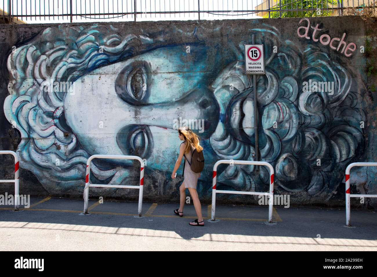 ROME Street art by Carlos Atoche at the psychology faculty of La Sapienza university - Stock Photo