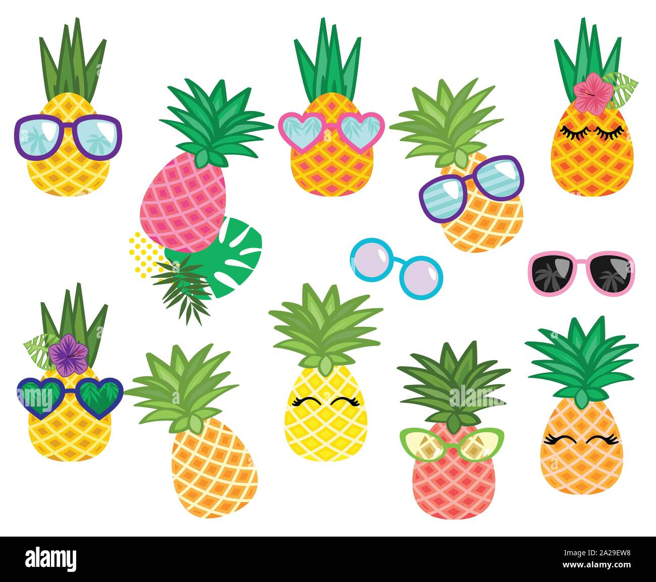 Vector Collection Of Cute Kawaii Pineapples Stock Vector Art