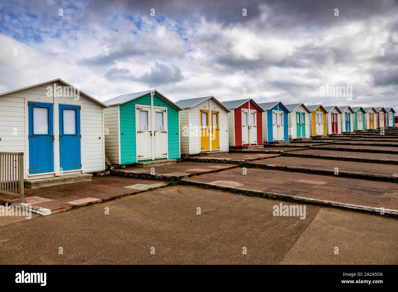 Beach huts at Bude on the North Cornwall coast Stock Photo