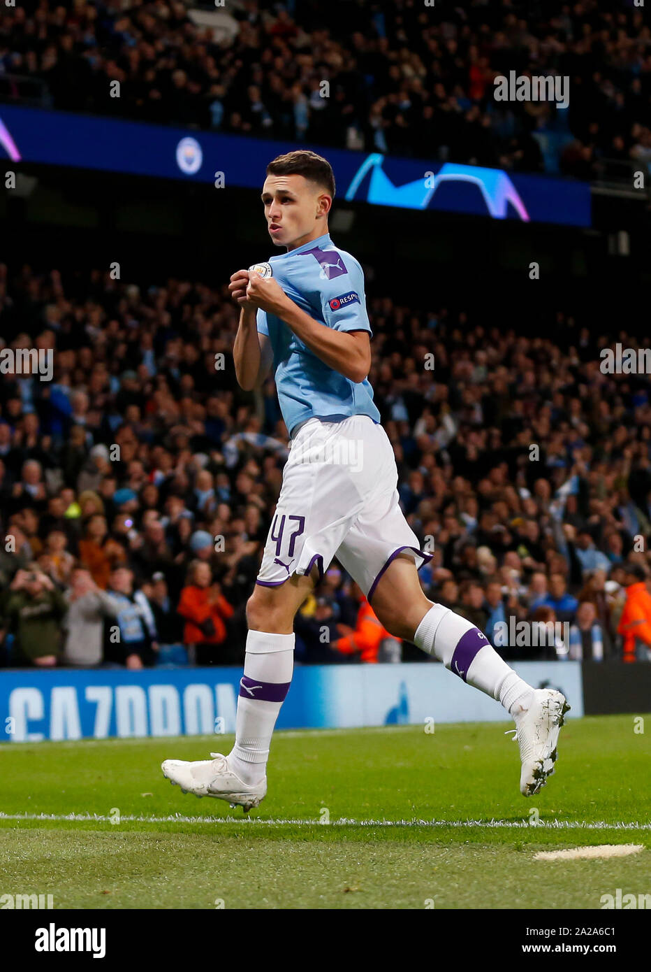 Manchester. 1st Oct, 2019. Manchester City's Phil Foden celebrates scoring during the UEFA Champions League Group C match between Manchester City and Dinamo Zagreb in Manchester, Britain on Oct. 1, 2019. Credit: Han Yan/Xinhua/Alamy Live News Stock Photo