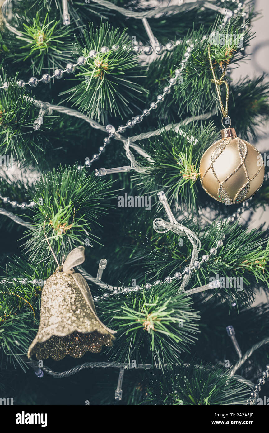 Christmas And New Year Decorations Silver Beads Bells Balls And