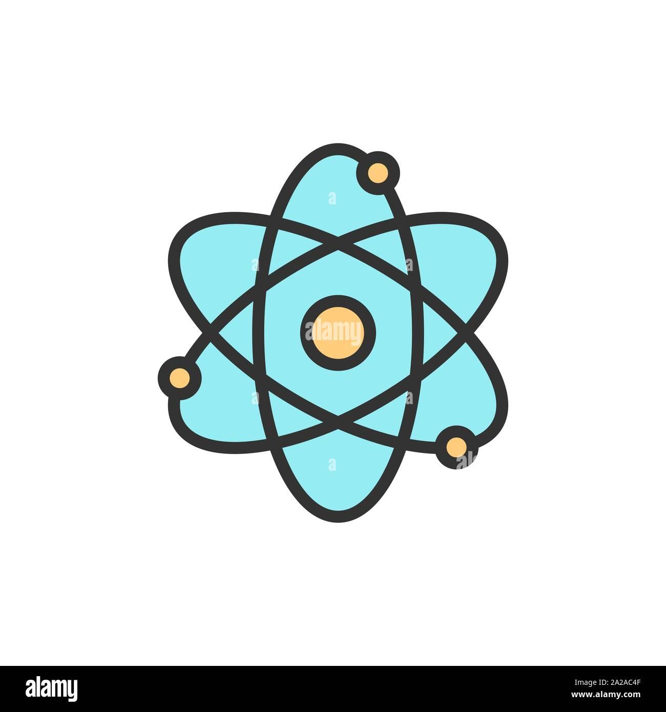 Vector atom, molecule flat color line icon. Stock Vector