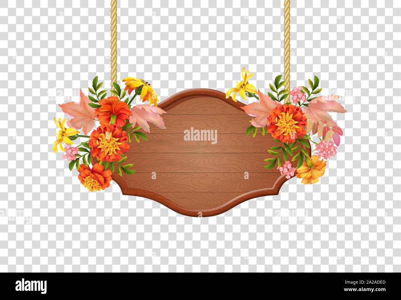 Vector hanging sign with floral bouquet. Wooden singboard hanging on ropes with autumn flowers and leaves Stock Vector