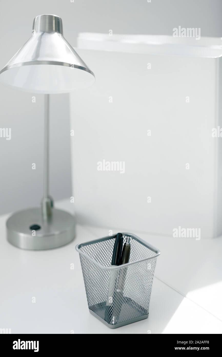 Modern White Table Or Desk Lamp Stock Photo Alamy