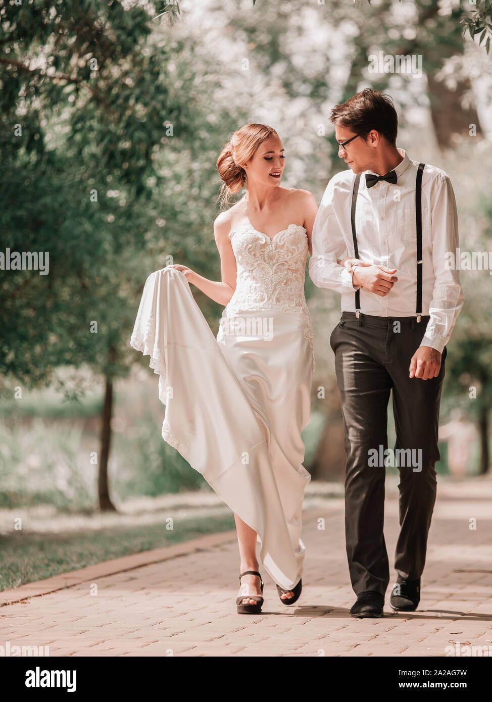 beautiful couple in love on a walk in the city Park. Stock Photo
