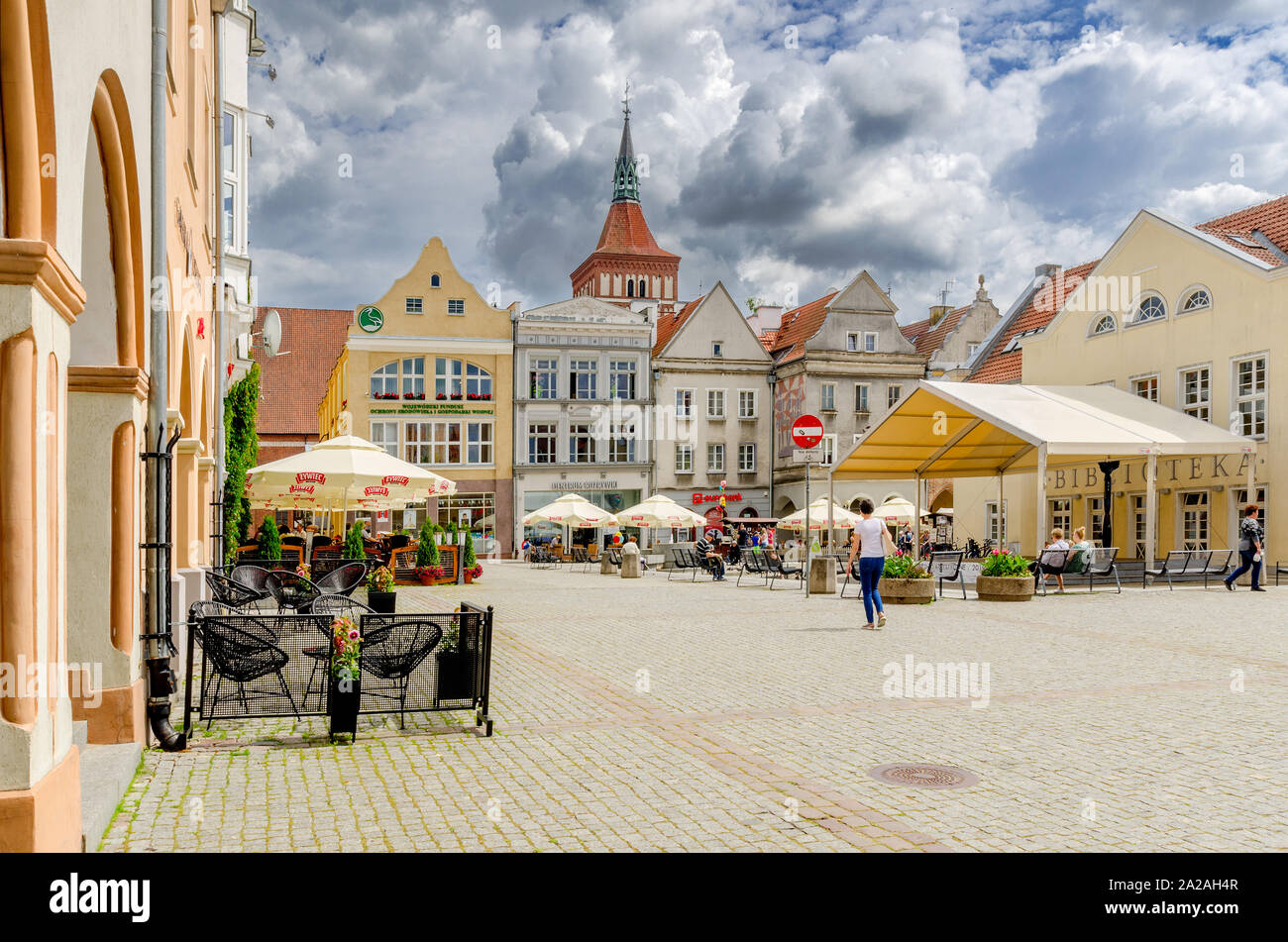 Olsztyn (ger.: Allenstein), Warmian-mazurian province, Poland. The Old Town Marketplace Stock Photo