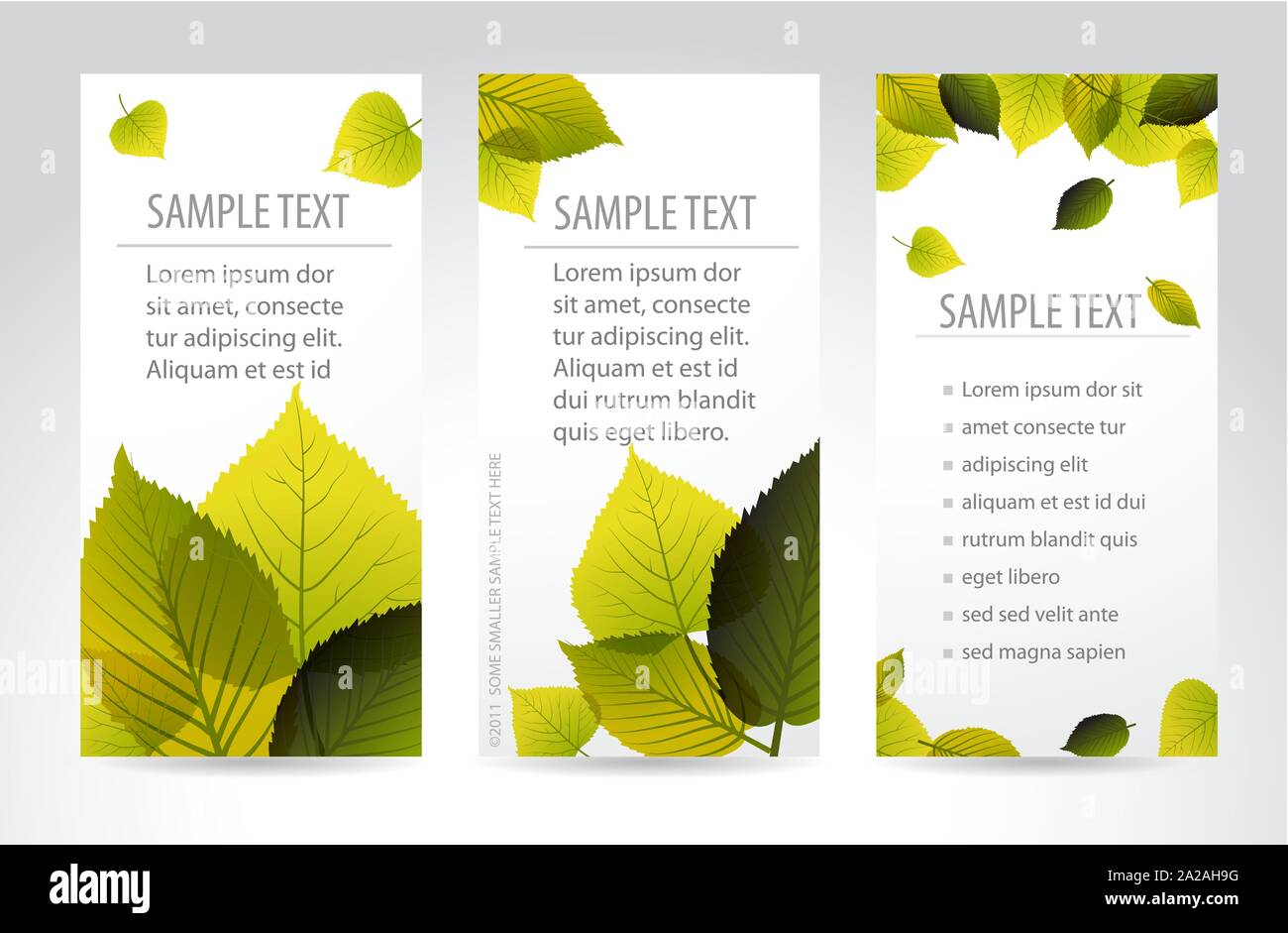 Fresh natural vertical banners with leafs and sample text Stock Vector