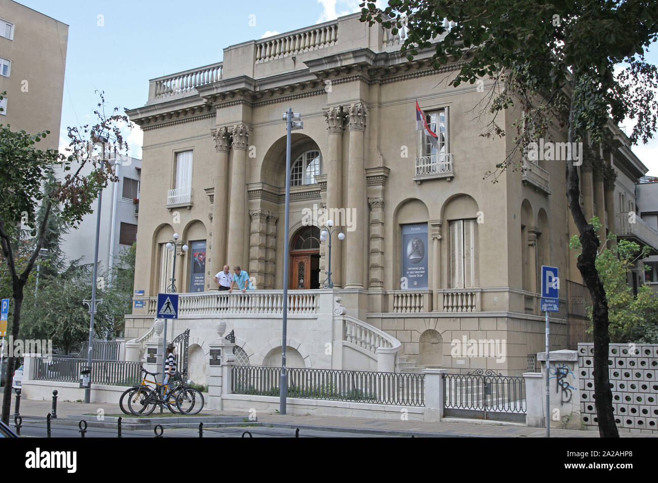 Three quarter face view of the front facade of the Nikola Tesla Museum, Central Belgrade, Serbia. Stock Photo