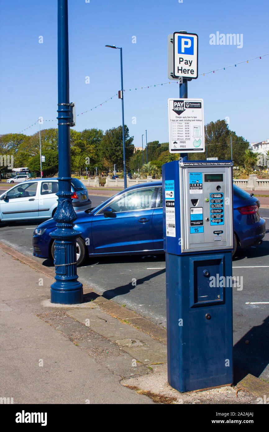 18 September 2019 A City Council street parking ticket machine located on the South Parade outside the Pyramids Centre in Soutsea, Portsmouth, England Stock Photo