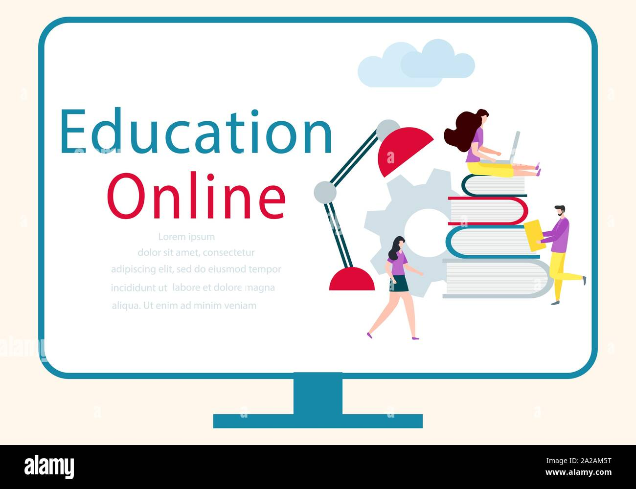 Vector Illustration With Learning People Online Education Online Distance Studying Teaching Learning Concept Online Tutorial E Learning School B Stock Vector Image Art Alamy